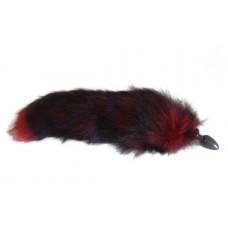 Анальная пробка черного цвета с тонированным красным хвостом