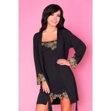 Комплект Loreli с золотистой вышивкой: пеньюар и сорочка